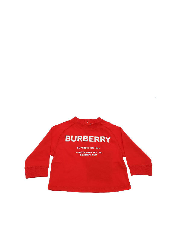 Burberry Kids' Red T-shirt With Horseferry Print