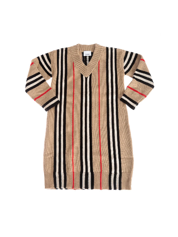 Burberry Kids' Bianca Dress With Striped Pattern In Beige