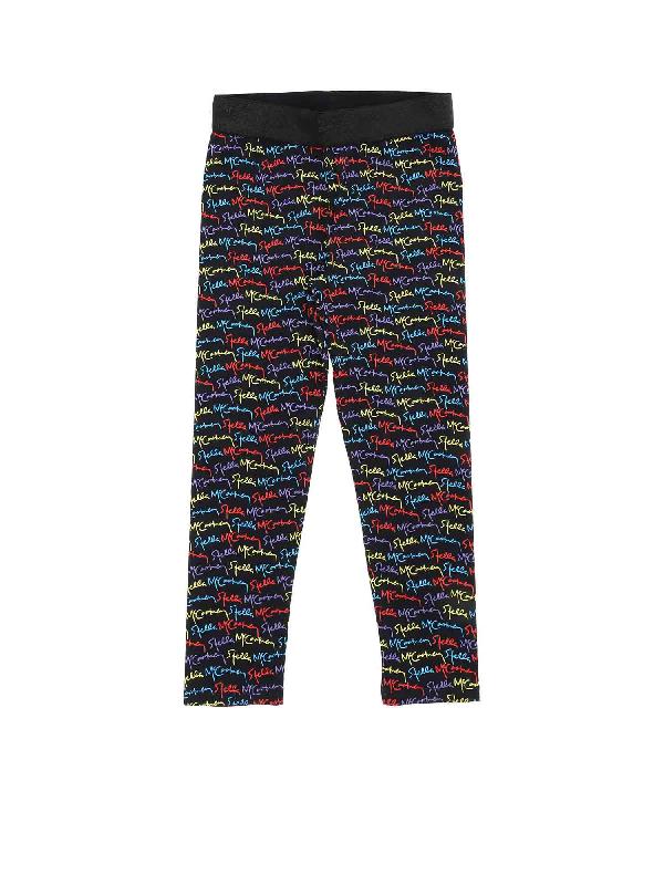 Stella Mccartney Kids' Black Leggings With Multicolor Monogram Print In Multicoloured