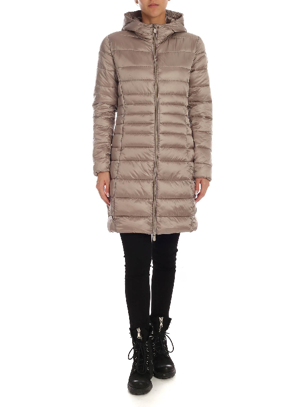 Save The Duck Long Fit Down Jacket In Taupe Color With Logo Patch In Beige