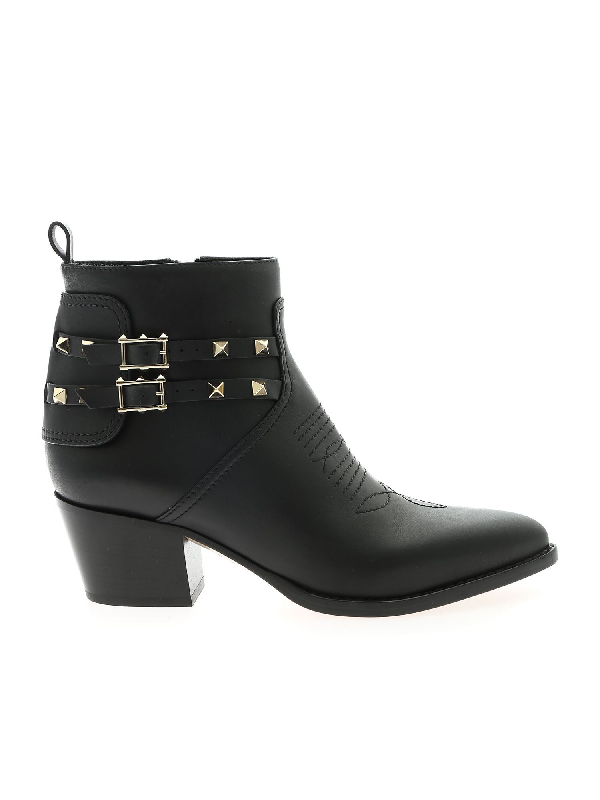 Valentino Garavani Bootie Ankle Boots In Black With Studs