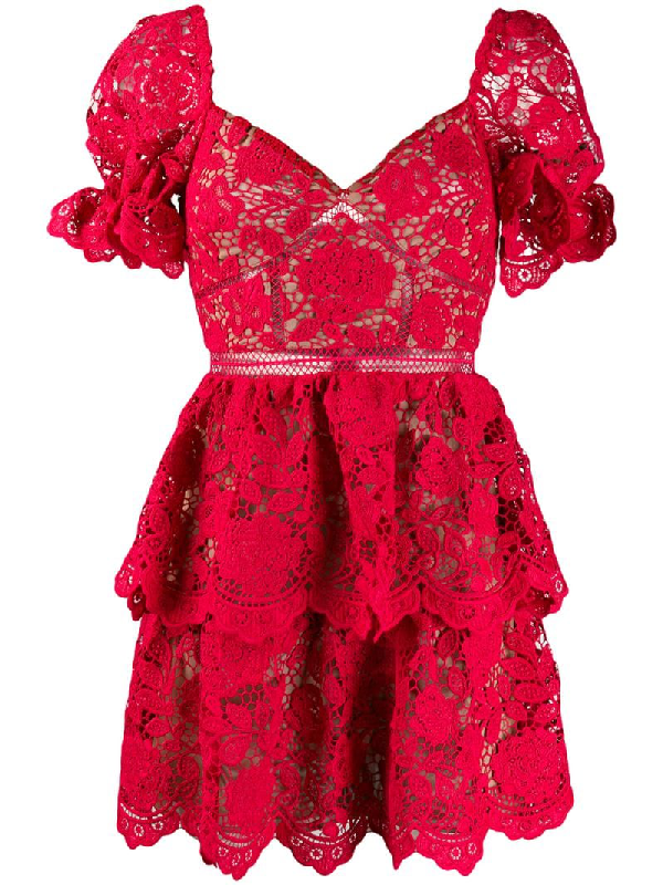 Self-portrait Ruschia Floral Lace Puff Sleeve Minidress In Red