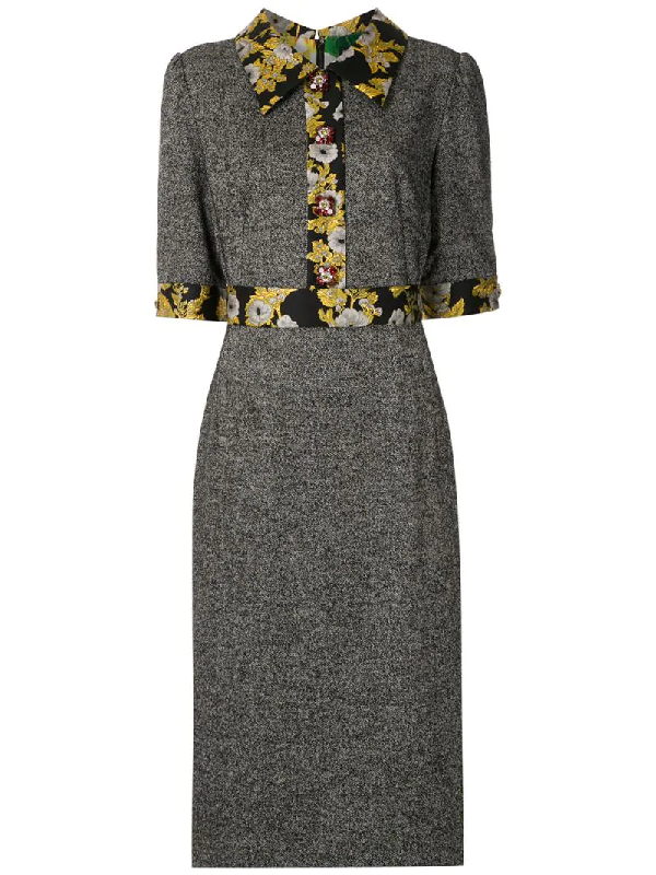 Dolce & Gabbana Floral Brocade Panelled Midi Dress In Grey