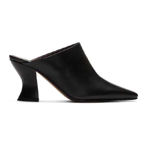 Bottega Veneta Almond Mule In Black Leather In 1000 Black