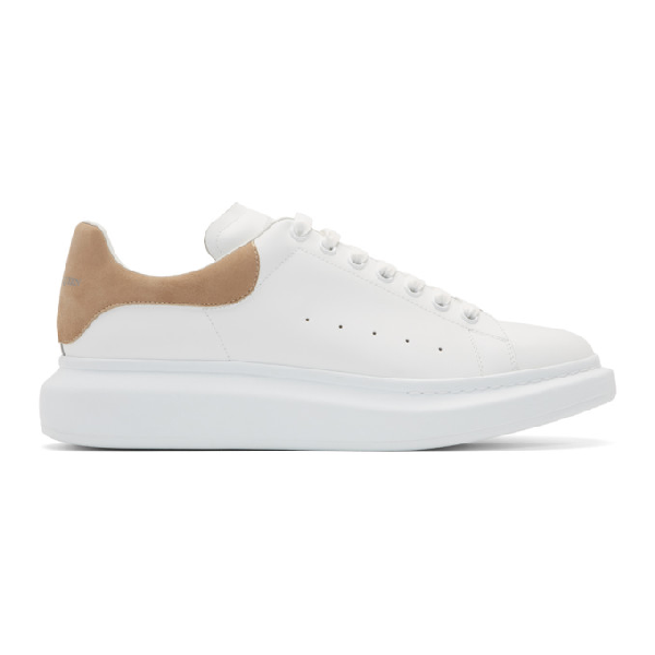 Alexander Mcqueen Exaggerated-sole Suede-trimmed Leather Sneakers In White