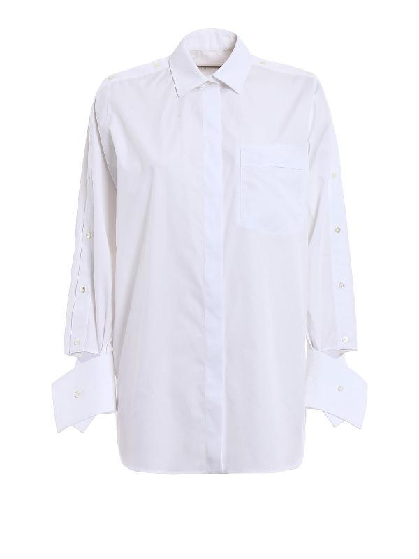 Valentino Maxi Cuffs Cotton Poplin Shirt In White