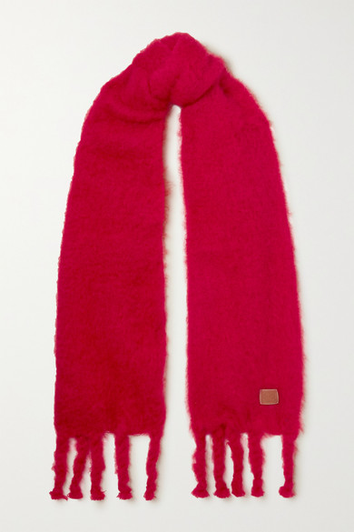 Loewe Leather-trimmed Fringed Mohair-blend Scarf In Red