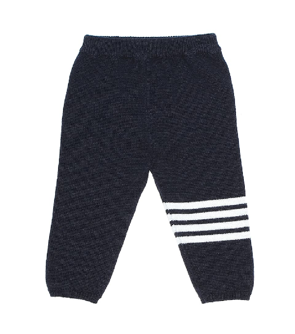 Thom Browne Babies' Cashmere Sweatpants W/ Intarsia Stripes In Blue