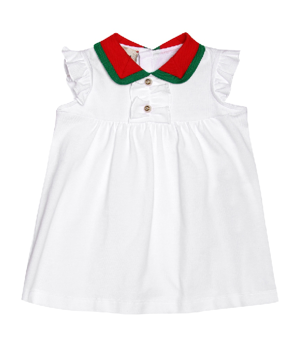 Gucci Babies' Ruffle-trim Dress W/ Two-tone Knit Collar In White