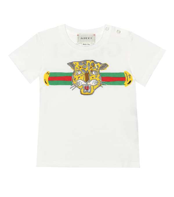 Gucci Babies' Archive Stripe Tiger-print T-shirt In White