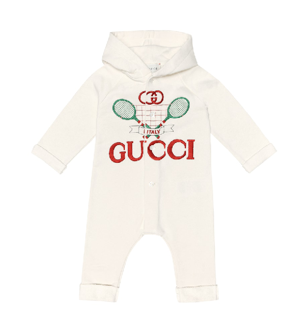 Gucci Babies' Racket Logo Embroidered Hooded Coverall In White
