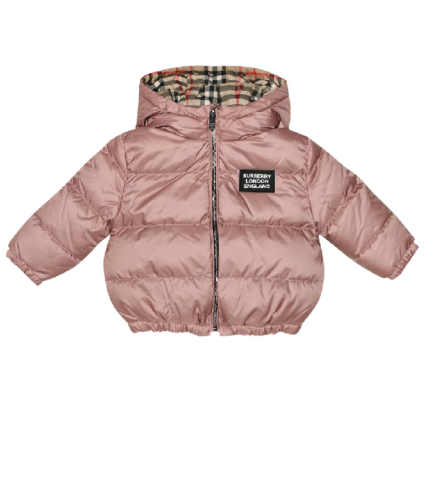 Burberry Baby Rayan Reversible Puffer Jacket In Pink
