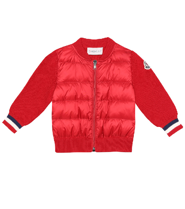 Moncler Baby Down And Wool-Blend Jacket In Red