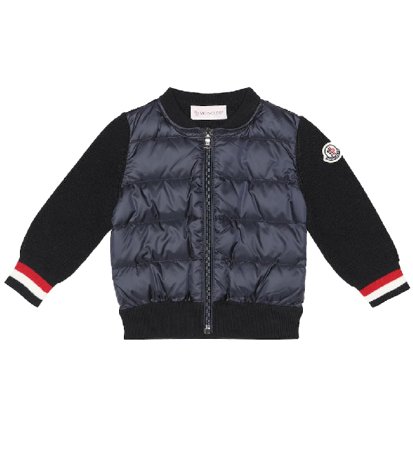 Moncler Baby Down And Wool-blend Jacket In Blue
