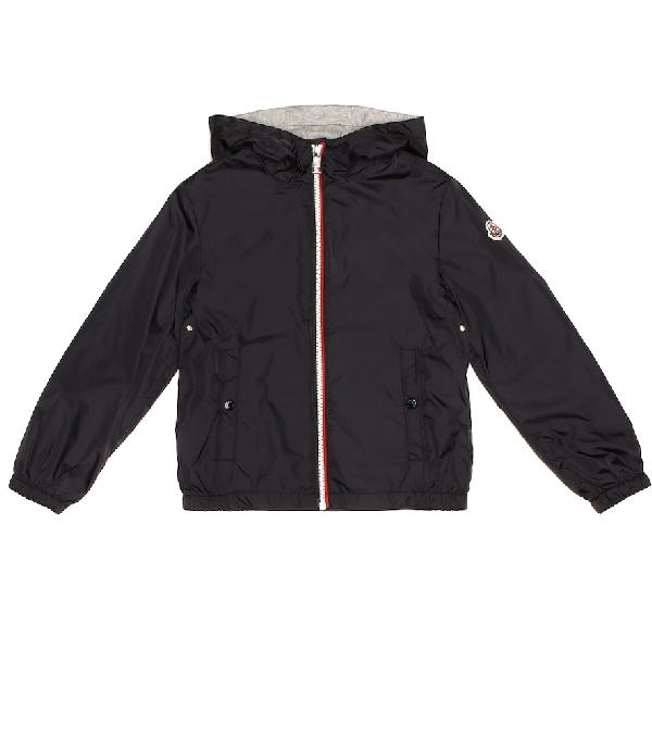 Moncler Kids' New Urville Hooded Nylon Jacket In Blue