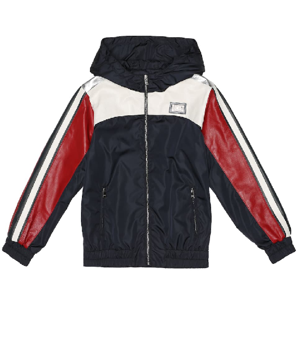 Dolce & Gabbana Kids' Nylon And Leather Jacket In Blue
