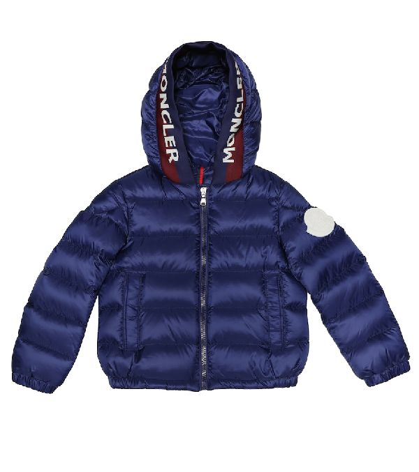 Moncler Kids' Bass Quilted Down Jacket In Blue
