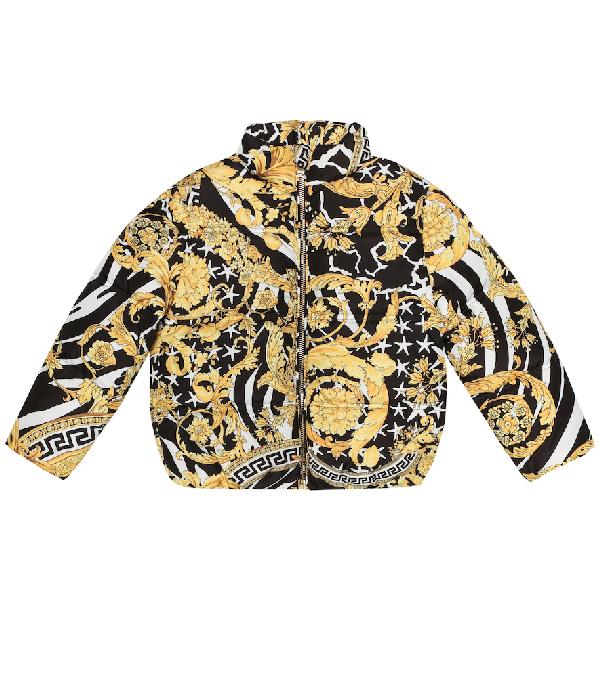Versace Kids' Printed Down Jacket In Black