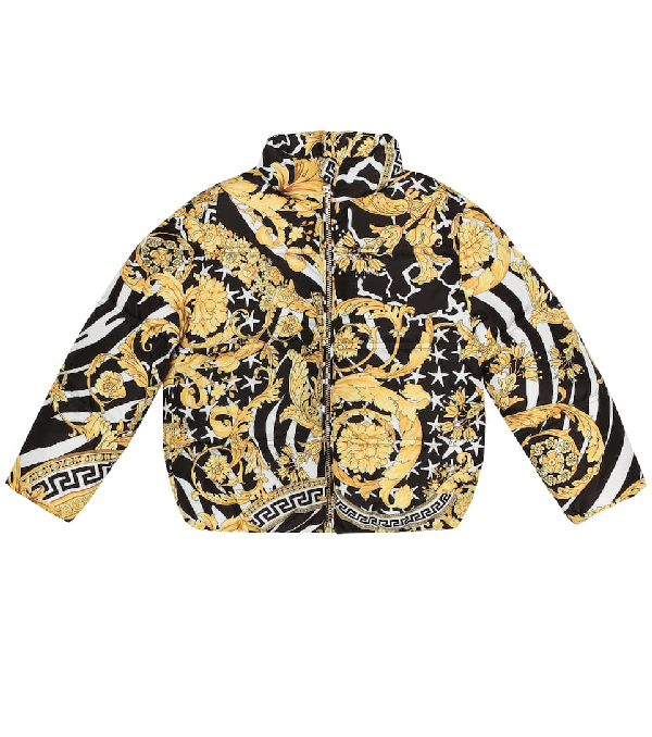 Versace Kids' Baroque Print Jacket In Black