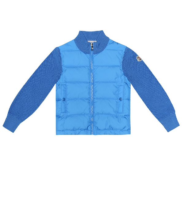 Moncler Kids' Quilted Down And Wool-Blend Jacket In Blue
