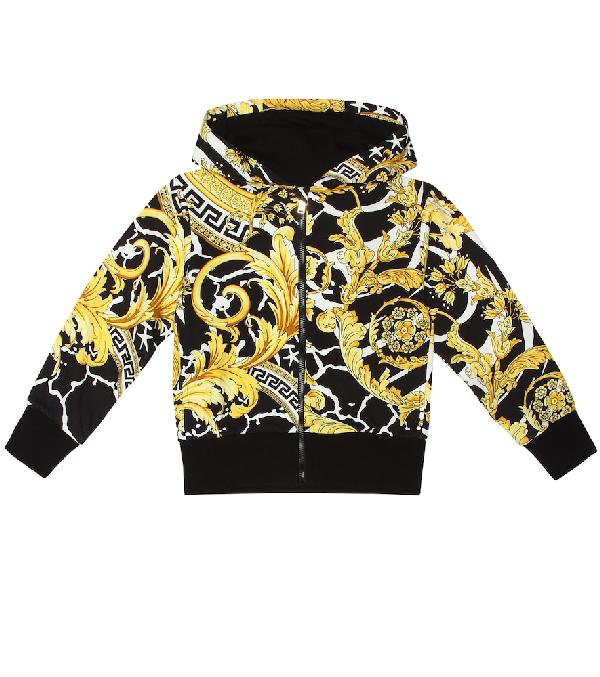 Versace Kids' Boy's Barocco Print Hooded Zip-up Jacket In Yellow