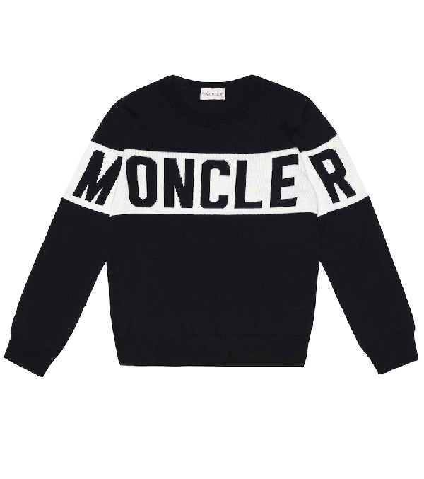 Moncler Kids' Jacquard Logo Tricot Wool Sweater In Blue