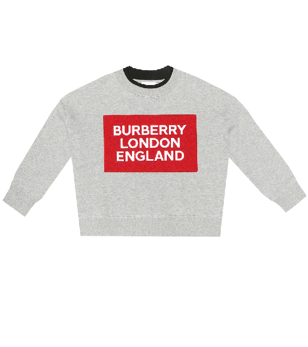 Burberry Kids' Mini Fabbio Logo Patch Sweatshirt In Grey