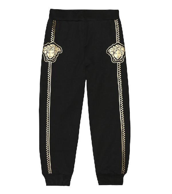 Versace Kids' Boy's Sweatpants W/ Check Medusa Sides In Black