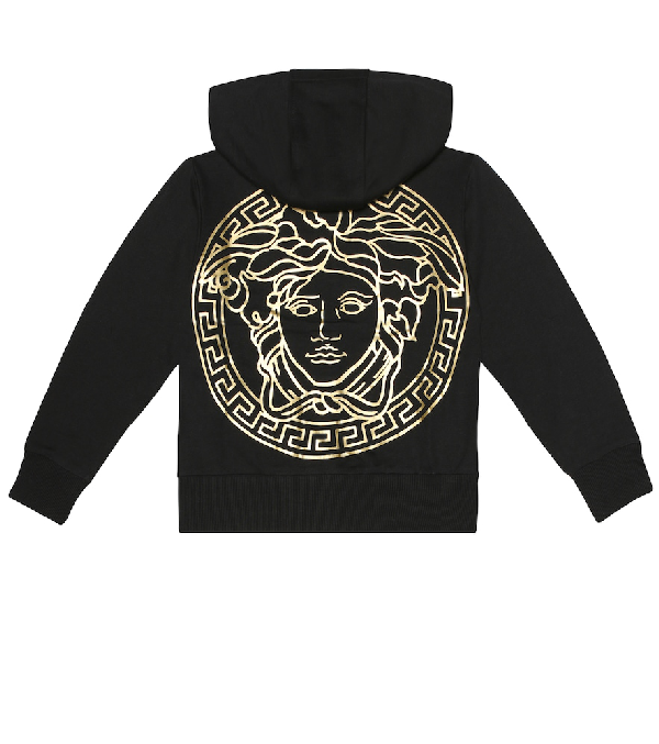 Versace Kids' Boy's Hooded Zip-up Jacket W/ Medusa Graphic In Black