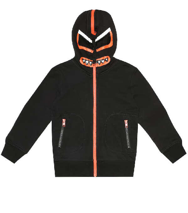 Stella Mccartney Kids' Bandit Zip-up Cotton Sweatshirt Hoodie In Black