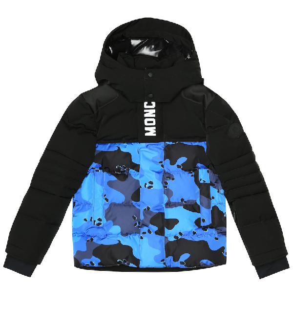 Moncler Kids' Arpon Camo-Print Down Jacket In Blue