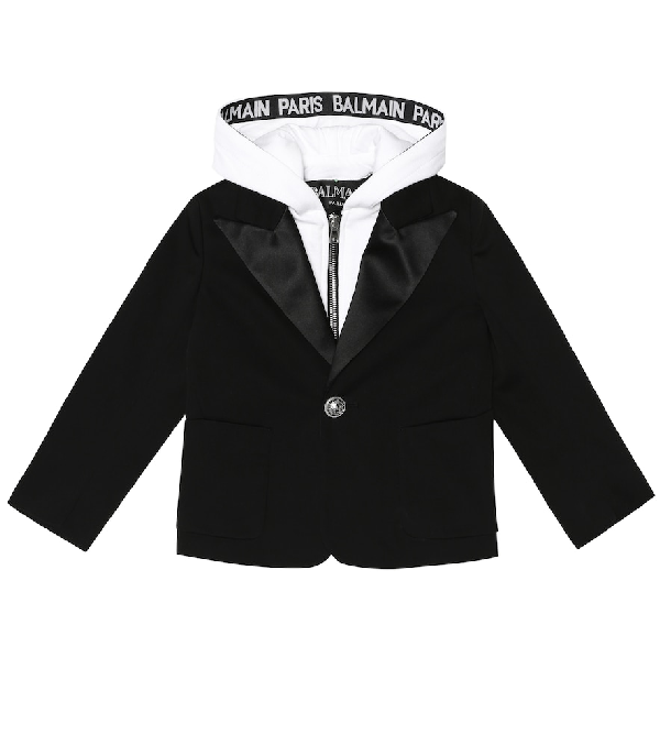 Balmain Kids' Hooded Stretch-cotton Blazer In Black