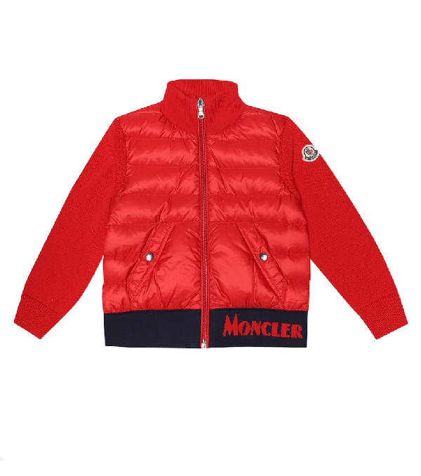 Moncler Kids' Cotton And Down Jacket In Red