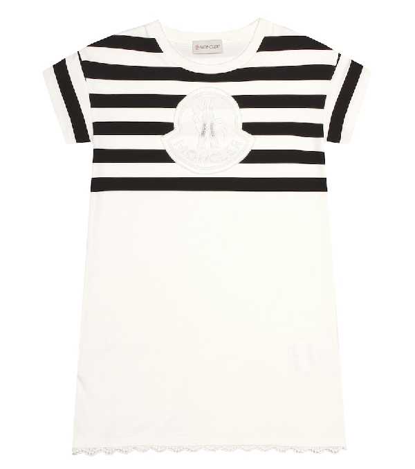 Moncler Kids' Striped Cotton Jersey Dress W/logo Patch In White