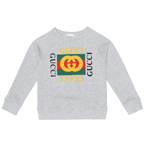 Gucci Kids' Long-sleeve Logo Sweatshirt In Grey