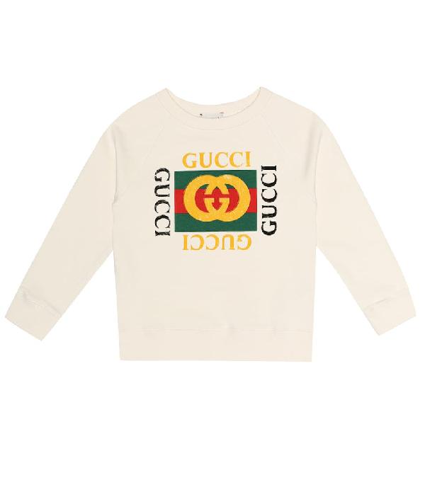 Gucci Kids' White Sweatshirt With Logo Print