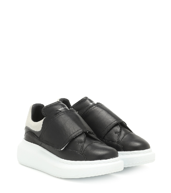 Alexander Mcqueen Oversized Grip-strap Leather Sneakers, Toddler/kids In Black