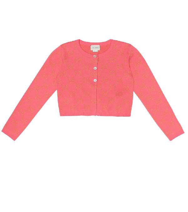 Gucci Kids' Gg Metallic Cotton-blend Cardigan In Pink