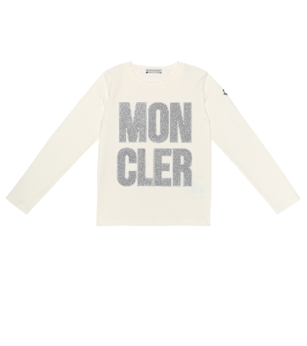 Moncler Kids' Embroidered Logo Stretch Cotton Top In Beige