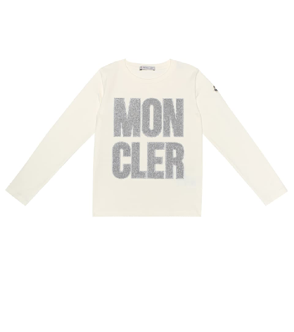 Moncler Kids Glitter Logo Embroidered T-shirt (4-6 Years) In Beige