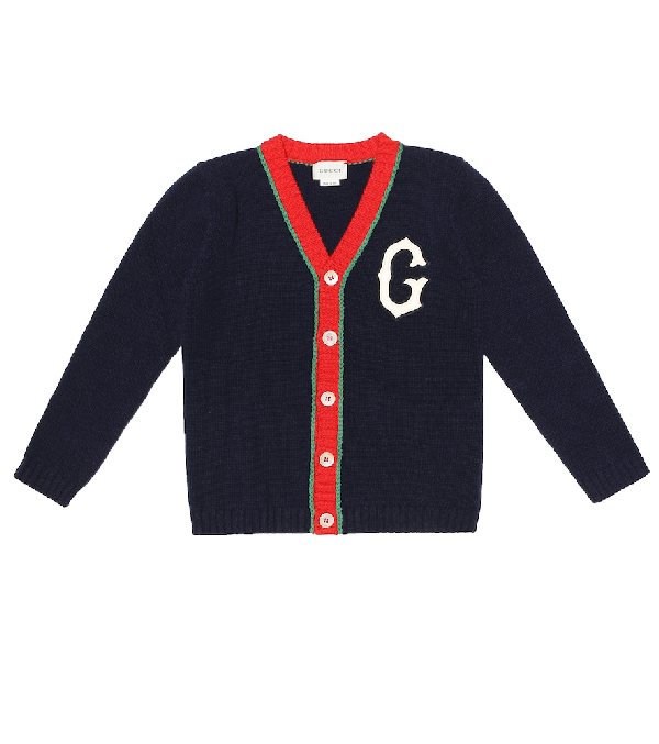 Gucci Kids' Children's Wool Cardigan With G Patch In Blue