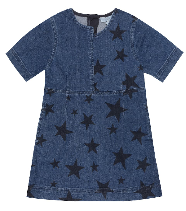 Stella Mccartney Kids' Star Print Stretch Cotton Denim Dress In Blue