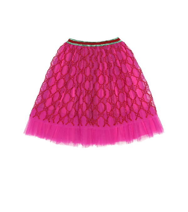 Gucci Kids' Girls' Iconic Embroidered Tulle Skirt In Pink
