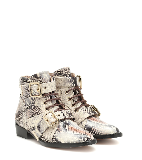 ChloÉ Kids' Snake-effect Leather Ankle Boots In Neutrals