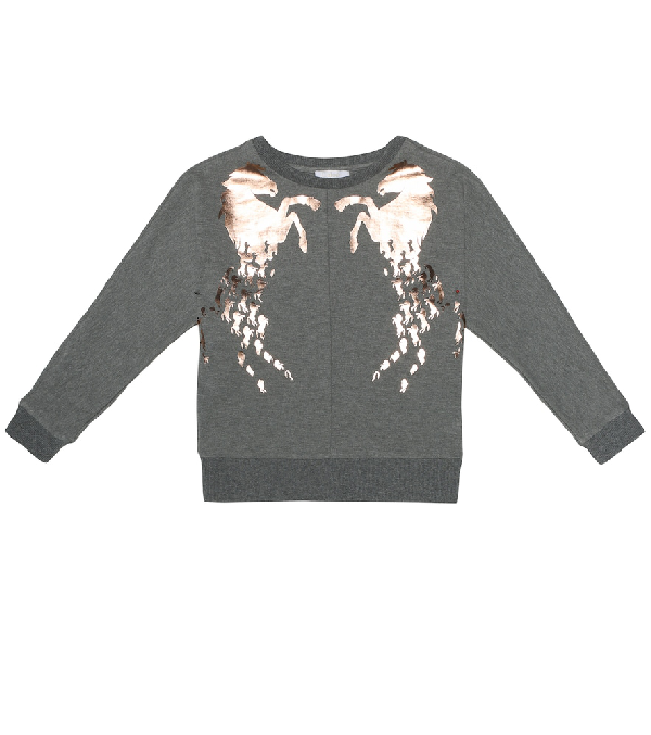 ChloÉ Kids' Sweatshirt In Grey Melange With Laminated Horse Prints