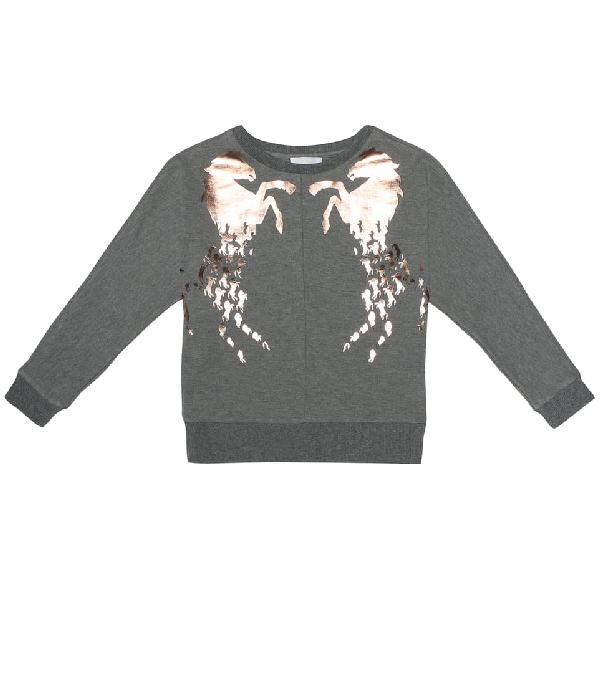 Chloé Kids' Sweatshirt In Grey Melange With Laminated Horse Prints