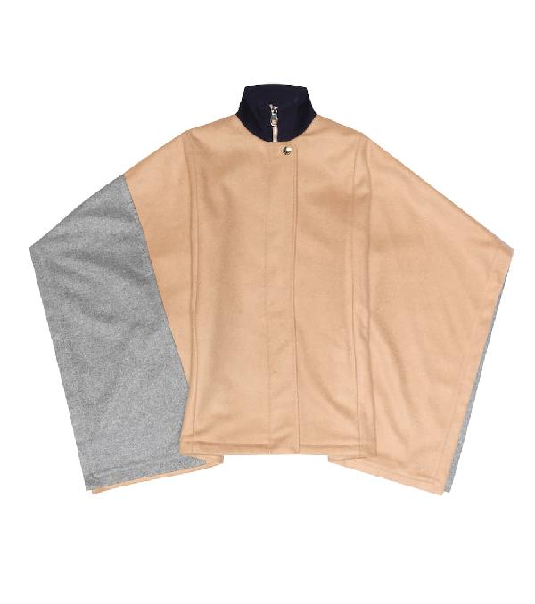 Chloé Kids' Two Tone Wool Blend Cape In Beige