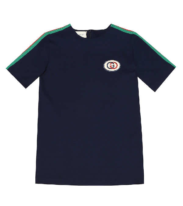 Gucci Kids' Short-sleeve Jersey T-shirt W/ Web Trim Sleeves In Blue
