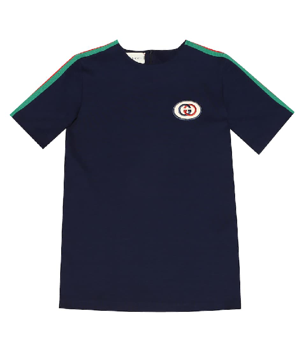 Gucci Kids' Children's Tunic Top With Web In Blue