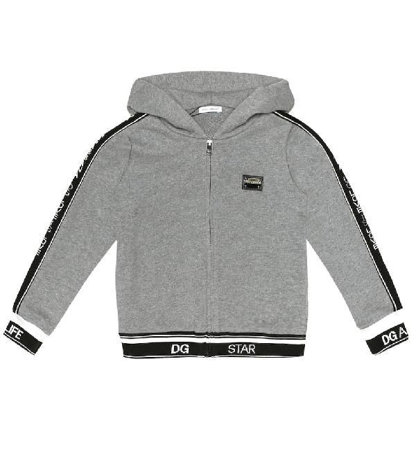 Dolce & Gabbana Kids' Logo Cotton Track Jacket In Grey